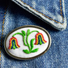Pin Embroidered Double Tulip, on clothing