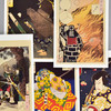 Yoshitoshi Warriors and Actors Museum Postcard Set, fronts of cards, close up