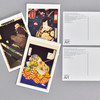 Yoshitoshi Warriors and Actors Museum Postcard Set, showing front and back of cards