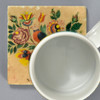 Fraktur Drawing of Vase with Birds and Flowers for Naomi Schultz Tile by The Painted Lily, with mug
