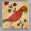 Fraktur Drawing of Parrot with Flowers Tile by The Painted Lily