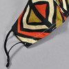 African Wax Print Orange Diamond Face Mask by Art & Soul Gallery, showing strap, close up