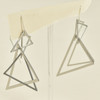 Satin Silver Triangles Earrings, hanging