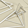 Satin Silver Triangles Earrings, close up