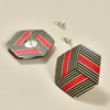 Rare Wood Hexagonal Earrings Mid Size, red center, showing post