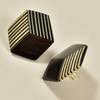 Rare Wood Hexagonal Earrings Mid Size, black with light wood