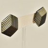Rare Wood Hexagonal Earrings Mid Size, black with light wood, hanging