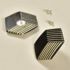 Rare Wood Hexagonal Earrings Mid Size, black with light wood, showing post