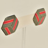 Rare Wood Hexagonal Earrings Mid Size, red center, hanging