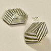 Rare Wood Hexagonal Earrings Mid Size, stripe with rare wood, showing post