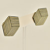 Rare Wood Hexagonal Earrings Mid Size, stripe with rare wood, hanging