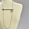 Grey Glass Abacus Long Necklace, on mannequin
