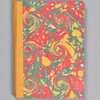 """Marbled Sketchbook 7"""" x 5"""" - yellow/blue/red French curl, front"""