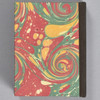 Marbled Playing Card Box - Yellow/Blue/Red French Curl, back