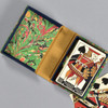 Marbled Playing Card Box - Green Fountain, opened with playing cards inside