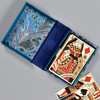 Marbled Playing Card Box - Blue Fountain, opened with playing cards inside