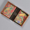 Marbled Playing Card Box - Yellow/Blue/Red French Curl, opened