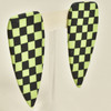 Checkered Dagger Earrings by Gracious Rebel, hanging