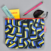 Zippered Nylon Pouch, black, with items inside