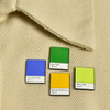 Philly Palette Enamel Pin Set, on clothing