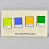Philly Palette Enamel Pin Set, on backing card