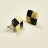 Tiny Rare Wood Earrings, Two Tone Rare Wood
