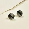 Tiny Rare Wood Earrings, Black with Light Wood