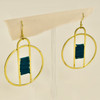 Crocheted Green Gold Circle Earrings, hanging