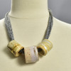 Three Bead Luster Necklace by Curious Clay, White, on mannequin