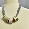 Three Bead Luster Necklace by Curious Clay, Olive, on mannequin