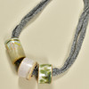 Three Bead Luster Necklace by Curious Clay, Olive, close up