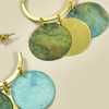 Brass Hand Painted Shakira Earrings, close up