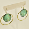 Brass Hand Painted Forest Hoop Earrings, hanging