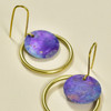 Brass Hand Painted Small Purple Hoop Earrings, close up