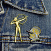 Diana Lapel Pin and Burgonet Helmet pin on denim jacket