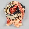 Cream, Black, and Red Chat Noir Scarf Looped in a Knot