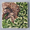 Mauve and Green Frend de Morgan Flower Coaster Painted Front