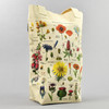 Cream Wildflower Specimens Tote Bag Standing Up with Handle Back