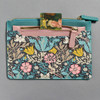 Blue and Pink William Morris & Co. Pouch Set Smaller Pouch Zipper Pocket Open