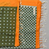 Heartmade Olive and Orange Scarf detail