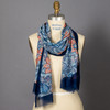 Navy and Salmon Tapestry Floral Scarf on mannequin