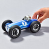 Midi Bonnie Blue Race Car with hand pushing it