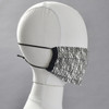 Pleated Black and White Face Mask by Lobo Mau on mannequin head