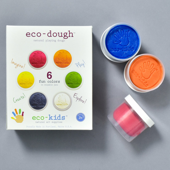 Eco-Dough 6 Pack, front of packaging with some of the contents