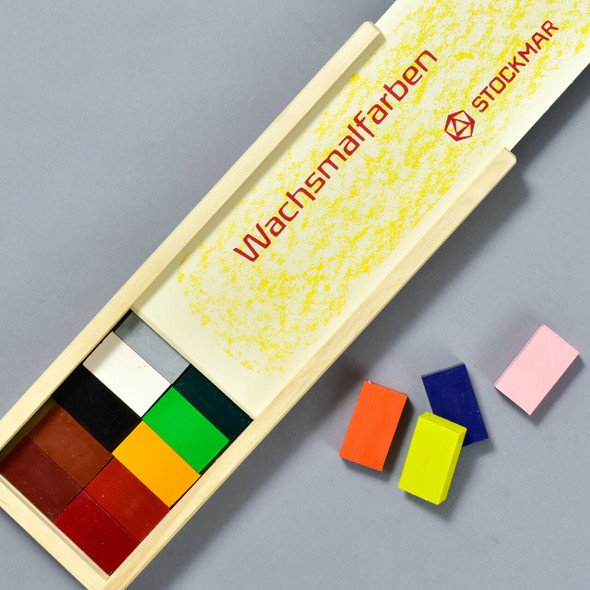 Stockmar Wax Block Crayons Wooden Box 24 Assorted open box
