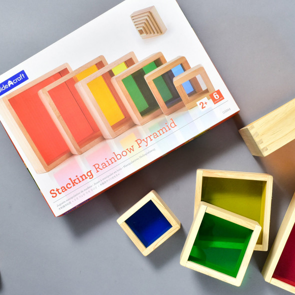 Stacking Rainbow Pyramid, front of box some of the blocks