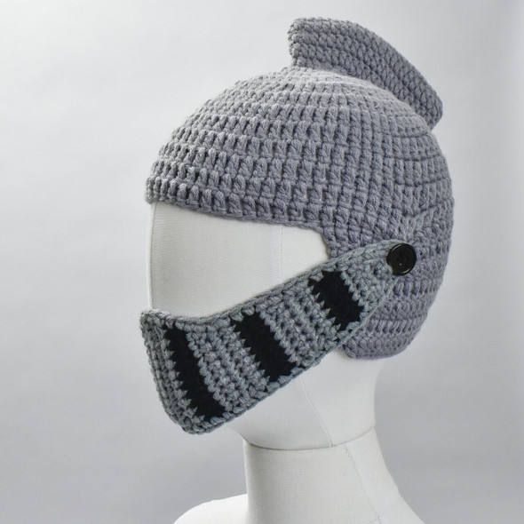 Knitted Knight Helmet Hat; on a form