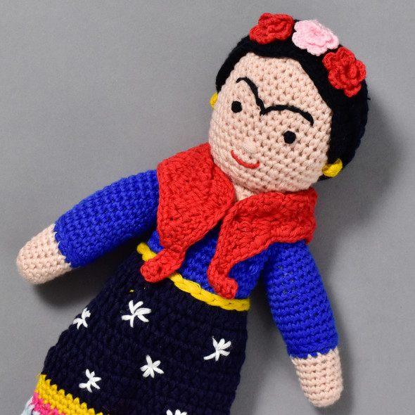 Frida Kahlo Crocheted Doll, close up