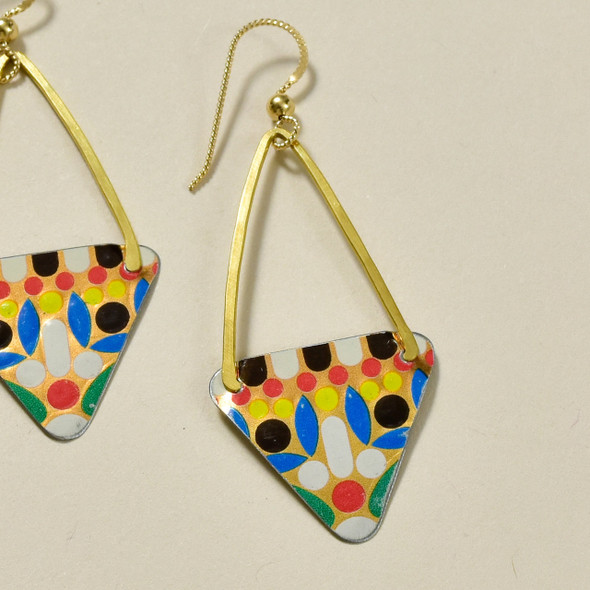 Vintage Tin Long Triangle Multi Earrings by Saffron Creations, close up