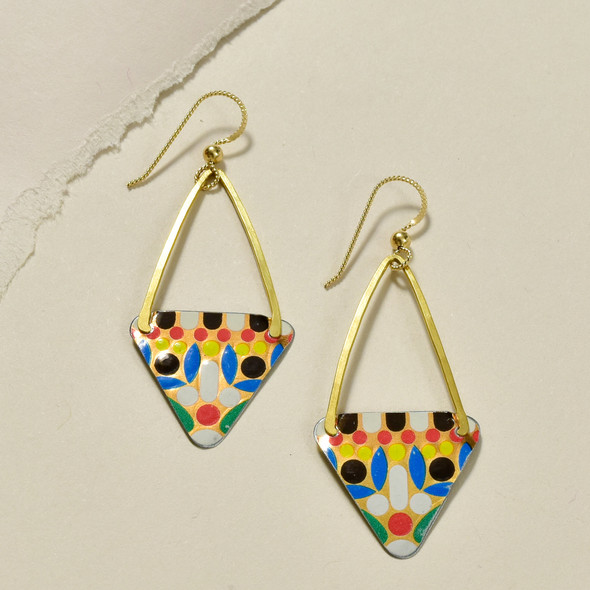 Vintage Tin Long Triangle Multi Earrings by Saffron Creations
